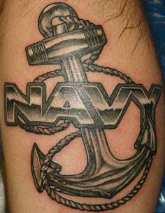 dark anchor tattoo thigh Anchor tattoo is another maritime tattoo that is popular among sailors or pirates as a symbol of their love for the great sea. Us Navy Tattoos, Navy Anchor Tattoos, Naval Tattoos, Marine Tattoos, Anchor Tattoo Men, Anchor Tattoo Meaning, Army Tattoos, Sailor Tattoos, Military Tattoos