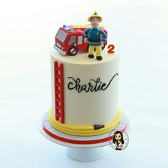 Here is little Charlie's 'Fireman Sam' birthday cake! Complete with edible firetruck and Fireman Sam figurine🚒 Charlie's cake is vanilla… Firefighter Birthday Cakes, Fireman Birthday, 3rd Birthday Cakes, Fire Engine Cake, Fireman Sam Cake, Fire Fighter Cake, Party Cakes, Fondant, Pastel