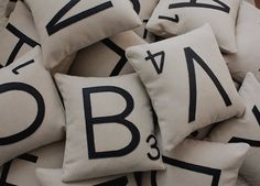 Scrabble Letter Pillows - Reading Corner/Nook - Think of the lessons you can do with these too ...
