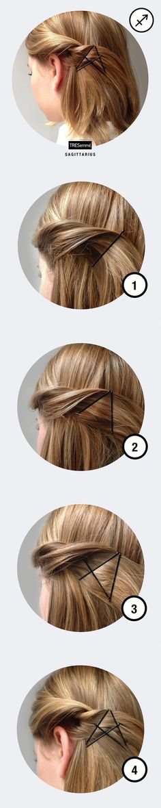 Star like bobby pin tutorial #hair #hairstyle #womentriangle