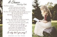"Guest Post: ""A Chance"" poem by Faith – Sisters on Our Knees"
