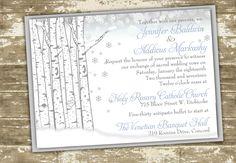 Glittered Winter Wedding Invitation with Birch by PolkaDotInvites, $2.10
