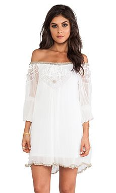 Free People Embellished Off The Shoulder Tunic in Ivory Combo   REVOLVE