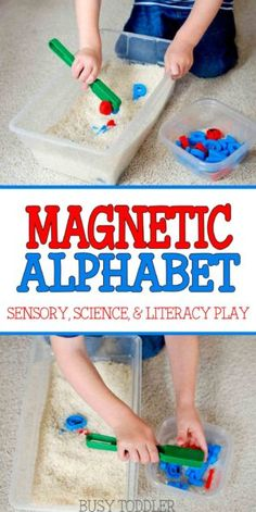 MAGNETIC ALPHABET SENSORY BIN: Science, sensory, and literacy fun for toddlers; create a fun alphabet sensory bin for toddlers to play with; an easy indoor activity