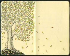 Drawing in a Moleskine sketchbook I love the the leaves going into the next page.