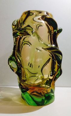 Bohemian Czech Jan Kotik or Beranek URANIUM Cased Sommerso Glass Vase uk.picclick.com