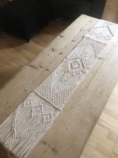 Macrame Table Runner / Handmade Wedding Decor / Boho Chic / Aztec Bohemian / Cotton Yarn Tapestry / Weave / Crochet / MADE TO ORDER – irene schweden – weberei Diy Macrame Wall Hanging, Macrame Art, Macrame Projects, Etsy Macrame, Macrame Mirror, Macrame Curtain, Macrame Knots, Handmade Table, Handmade Wedding