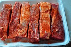 "Crock pot BBQ ribs.  This recipe uses pork shoulder cut into 1"" to 2"" thick strips often called Western Ribs.  Don't use Country Ribs, which are cut from the pork loin and will dry out if they are cooked for a long time."