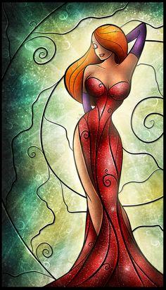Jessica Rabbit stained glass style artwork.  Disney