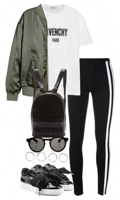 A fashion look from May 2017 featuring Givenchy t-shirts, H&M jackets e activewear pants. Browse and shop related looks. Sporty Outfits, Stylish Outfits, Winter Outfits, Summer Outfits, Cute Outfits, Teen Fashion, Korean Fashion, Winter Fashion, Fashion Outfits