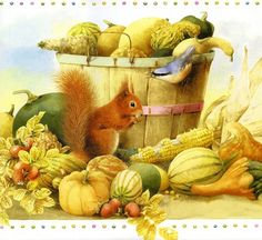 Artist Marjolein Bastin || Autumn Bounty with Squirrel & Bird