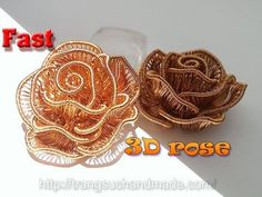 3D rose from copper wire - Flower jewelry - Fast version 358