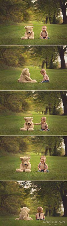 Baby Teddy Bear Photo, 8 month photo baby boy, Teddy bear, Twin Cities Photographer, Rachel Marthaler Photography