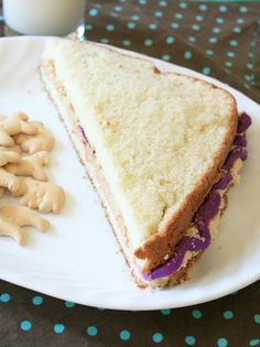 Munchkin Munchies: Peanut Butter & Jelly Sandwich CAKE- I make something very similar only I make peanut butter mousse for the filling and add actual jam in the middle, not just colored frosting. Always a huge hit!