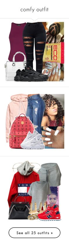"""""""comfy outfit"""" by smj2010 ❤ liked on Polyvore featuring Topshop, Furla, NIKE, MCM, Fendi, River Island, New Balance, H&M, Herschel Supply Co. and J Brand"""