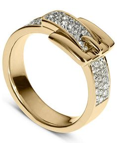 Michael Kors Ring, Gold Tone Pave Crystal Buckle Ring - matches my gold tone pave white buckle bracelet Gold Jewelry, Jewelry Rings, Jewelry Watches, Man Jewelry, Jewellery, Fashion Rings, Fashion Jewelry, Michael Kors Ring, Gold Rings