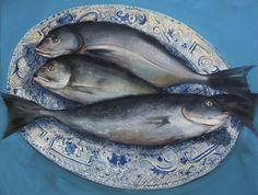 Fish on the plate, oil on canvas, Gerard Byrne, www.gerardbyrneartist.com