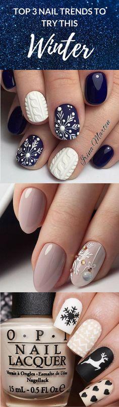 3 Must try Winter nail trends cute nail art. pretty Christmas nail design. festive holidays nails