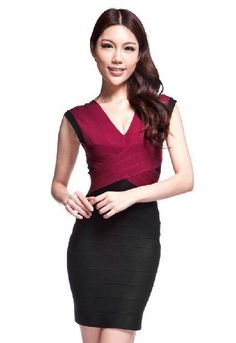 Wine red and black mosaic shoulders Bridesmaid Dress beautiful, White Feather Skirt, All Fashion, Fashion Dresses, Seersucker Dress, Evening Dresses, Summer Dresses, Autumn Clothes, Spring Outfits, Dress To Impress