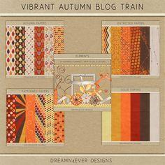 FREE Dreamn4ever Designs :  Vibrant Autumn Blog Trains