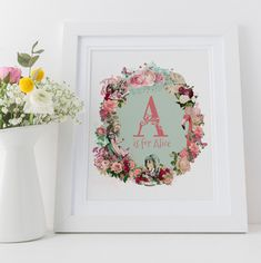 Personalised Alice in Wonderland Print Gift, Mad Hatter White Rabbit Flamingo, Christening Gift UNFRAMED 8x10 A4 A3 High Quality Print by GiraffeandCustard on Etsy #aliceinwonderland #madhatter #homedecor #print