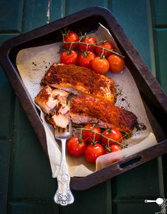 Oven-baked Paprika Salmon - rubbed the fillets with oil and sprinkled, generously I might add, with smoky paprika. That's it. Within 15 minutes I had a satisfying meal that struck just the right chord.