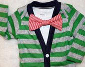 If I ever have a boy will have to buy a few of these! Cardigan and Bow Tie Onesie Set - Green and Red Stripes - Trendy Baby Boy