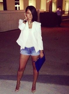 Denim shorts and white blazer with nude heels