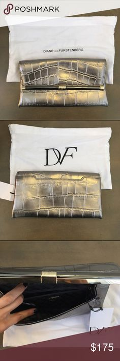 DVF 440 Metallic Croc-Embossed Leather Clutch NWT DVF 440 Metallic Croc-Embossed Leather Envelope Clutch NWT. Granite. Details in photos. Comes with tags attached and dust bag Diane von Furstenberg Bags Clutches & Wristlets