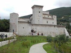 Italian La Rocca Flea castle, Gualdo Tadino, Umbria, is a fortified palace