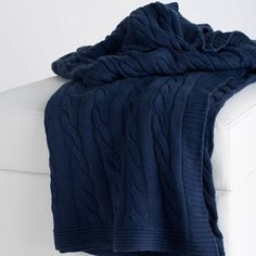 Navy Cable Knit Throw Blanket $68.00