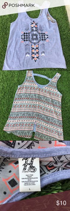 Hybrid high-low graphic tank Lightweight gray graphic tank. Cute design on front. Back is made of sheer printed material. Loose fitting. Hybrid Tops Tank Tops
