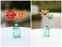 Emily and Dave's Turquoise and Orange Wedding with 1,000 Paper Cranes and Origami Flowers by Kelli Wyland