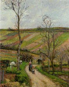 Route du Fond in Hermitage, Pontoise - Camille Pissarro