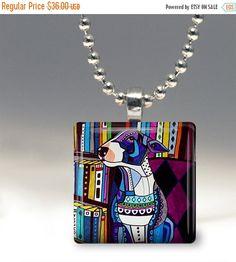55% Off TODAY- Miniature Bull Terrier Dog Folk Art Jewelry - Pendant Glass Gift Art Heather Galler Gift- Dog Lovers Abstract Modern