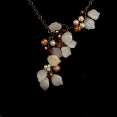 Fall and winter necklace. Cream and Brown Beaded Necklace Leaf by CherylParrottJewelry, $61.95