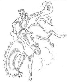 Vintage Hand Embroidery PATTERN 95 Cowboy Western Bronco Rider Horse Brands Kitchen Dish Towels PDF instant download
