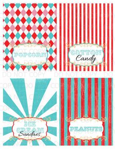 Printable DIY Vintage Circus colorful Table by onelovedesignsllc, $6.00