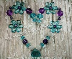 Purple and Turquoise Chunky Bubblegum Necklace Girls or Womens. $18.99, via Etsy.
