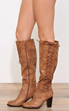 BAMBOO Lace Up Knee High Heeled Boots - New Arrivals