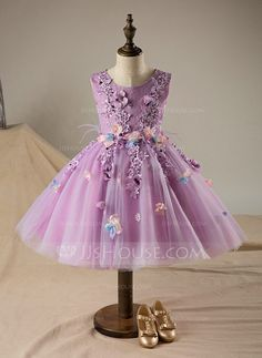 [US$ 74.99] A-Line/Princess Knee-length Flower Girl Dress - Polyester/Cotton Sleeveless Scoop Neck With Flower(s)/Sequins (010095989)
