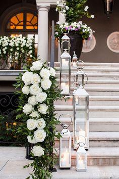 35 Fantastic Wedding Staircase Décor Ideas You'll Love – Page 3 – Hi Miss Puff Wedding Staircase Decoration, Wedding Stairs, Wedding Reception Entrance, Wedding Table Decorations, Silver Lanterns, Wedding Lanterns, Romantic Wedding Decor, Floral Wedding, Wedding Ideas