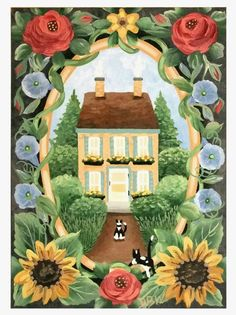 aceo original acrylic painting cats flowers house whimsical fantasy sunflowers