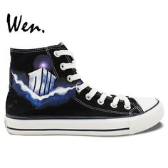 Wen Hand Painted Shoes Doctor Who Birthday Gifts Design Custom High Top  Black Canvas Sneakers for 8ead103ed