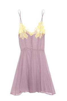 Rosamosario Lace-Appliquéd Silk Georgette Chemise, $670, available at Net-A-Porter.