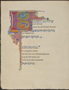 Jan Toorop behandelt de gedrukte tekst in de sfeer van de oude middeleeuwse manuscripten, want ook hij is een symbolist. Hij werkt in ecoline, wat zuurstokachtige kleuren oplevert. In de grote letter H zijn Egyptische symbolen verwerkt, zoals het alziend oog en de gestalte van een treurende vrouw met haar hand tegen het voorhoofd gedrukt.