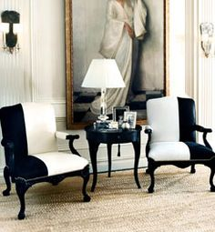 black and white antique chairs...shockingly beautiful #ralph_lauren #white_black_chair