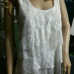 Preowned preloved white shimmer lace cami tank Size large made by Deb. Great with layers this summer! Worn x 2. Deb Tops Tank Tops