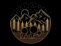 Bison designed by Skilline . Connect with them on Dribbble; the global community for designers and creative professionals. Astronaut Illustration, Illustration Art, Art Deco Logo, Web Design, Forest Design, Abstract City, Indian Folk Art, Badge Design, Geometric Art