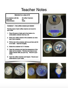 NGSS 5th Grade Matter - Make ice cream using coffee creamers lab! https://www.teacherspayteachers.com/Product/Next-Generation-Science-Standards-Grade-5-Matter-Unit-1551077